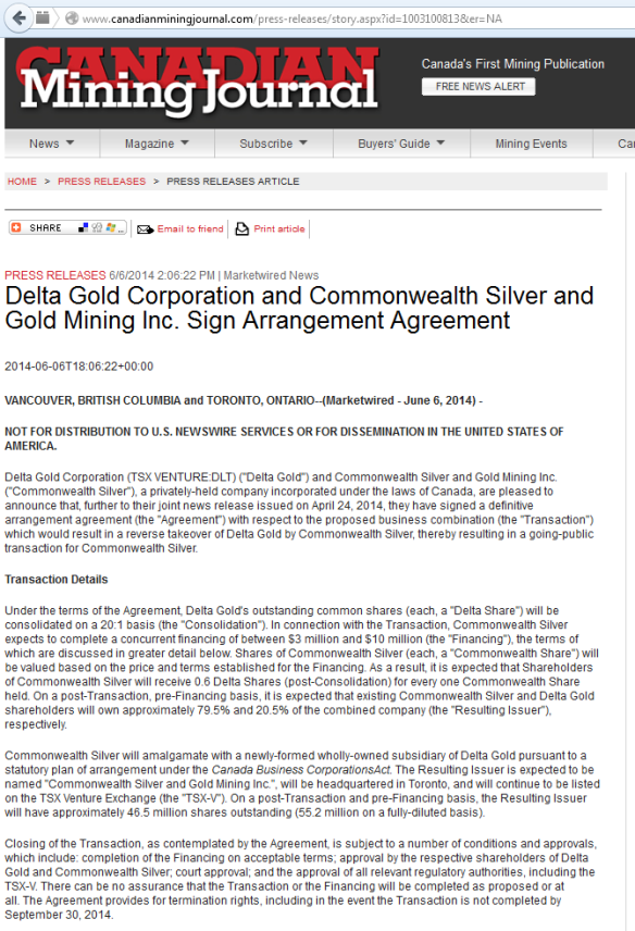 Delta Gold Corporation and Commonwealth Silver and Gold Mining
